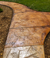 Walkway stamped concrete