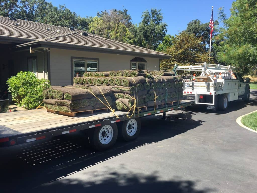 truck carrying sod